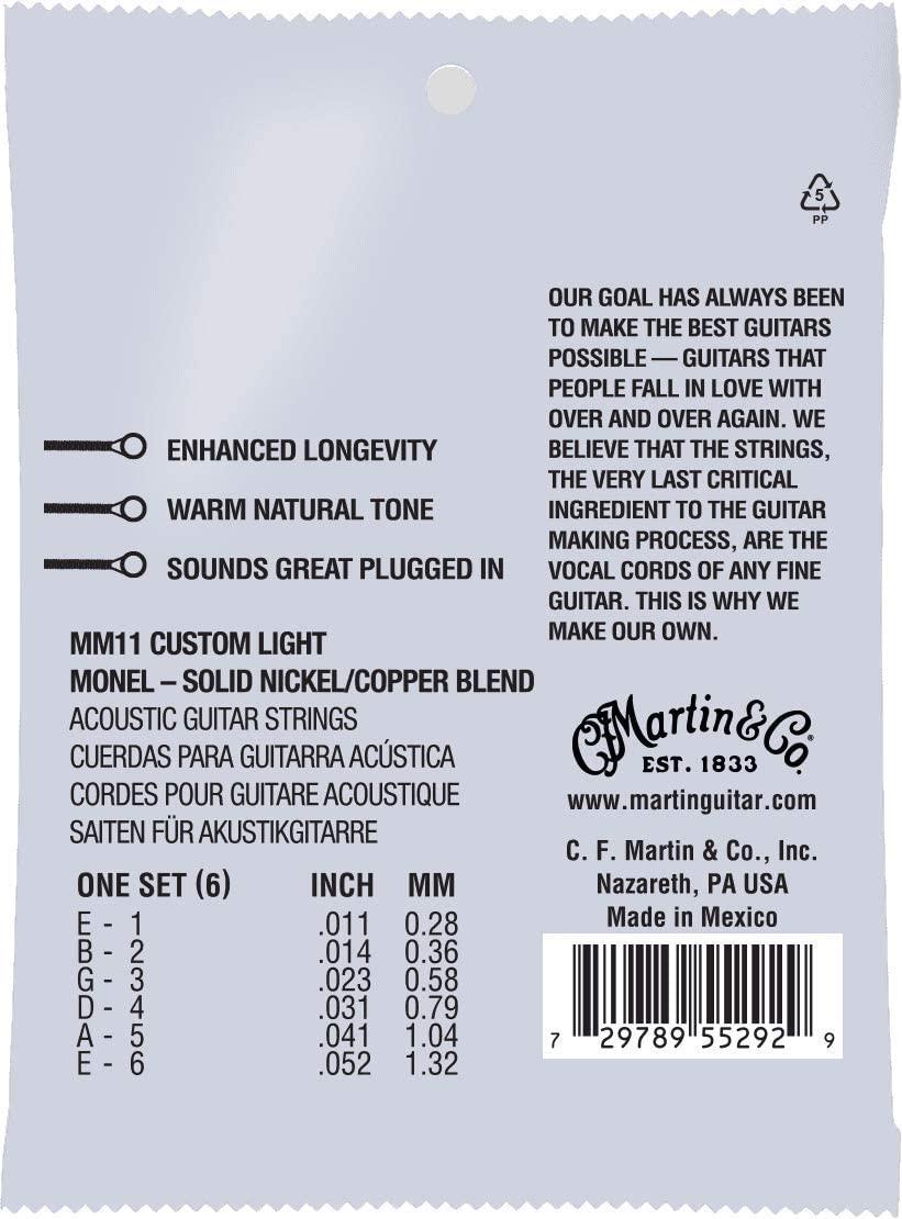 Martin MM11 retro acoustic guitar strings back