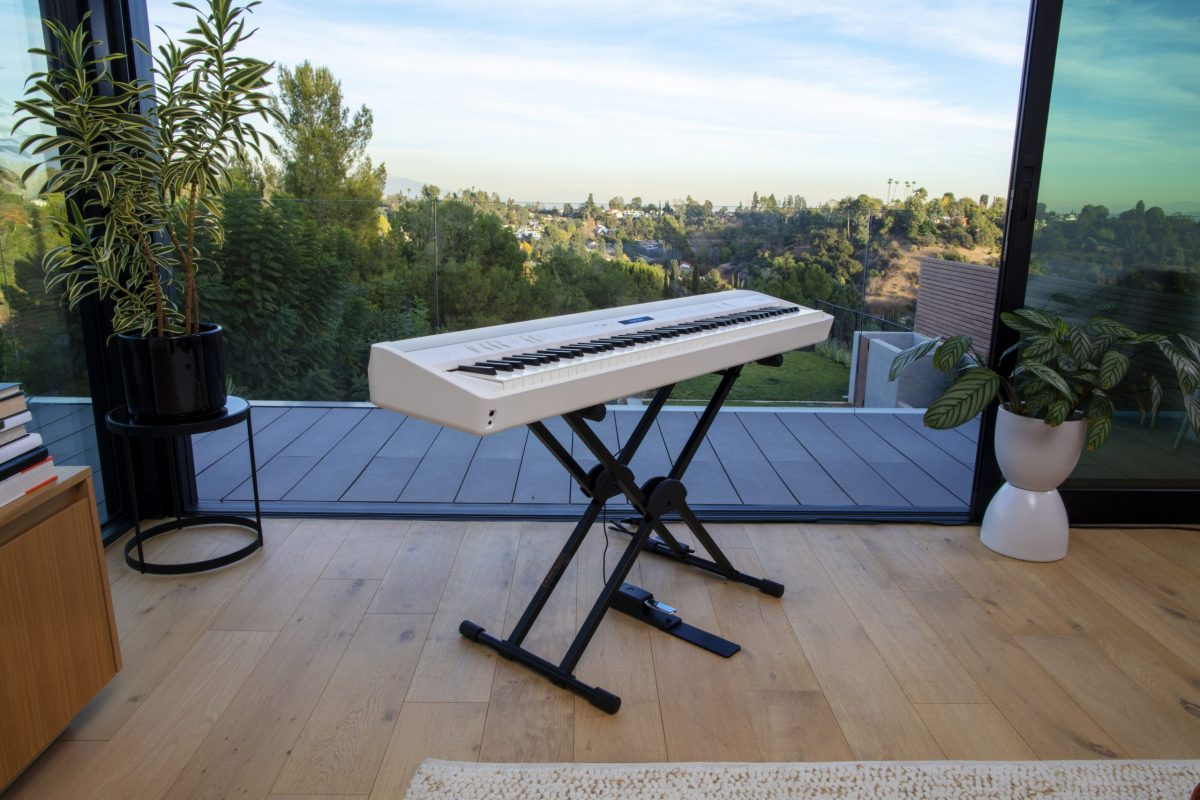 Roland FP90XWH on stand