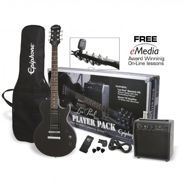 Epiphone Les Paul Special II Player Pack - Black - ELPJEBCHPP